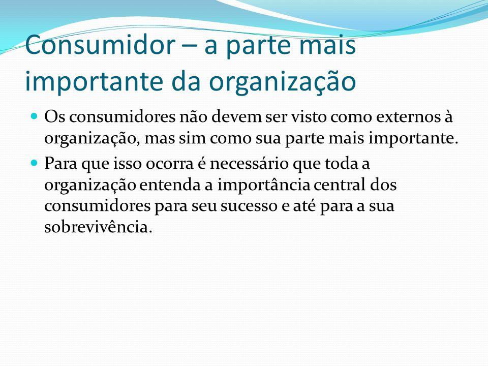 Os consumidores não devem ser visto como externos à organização, mas sim como sua parte mais importante. Para que isso ocorra é necessário que toda a