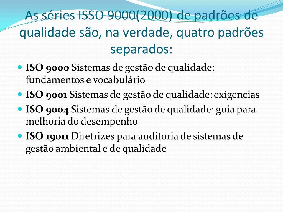 As séries ISSO 9000(2000) de padrões de qualidade são, na verdade, quatro padrões separados: ISO 9000 Sistemas de gestão de qualidade: fundamentos e v