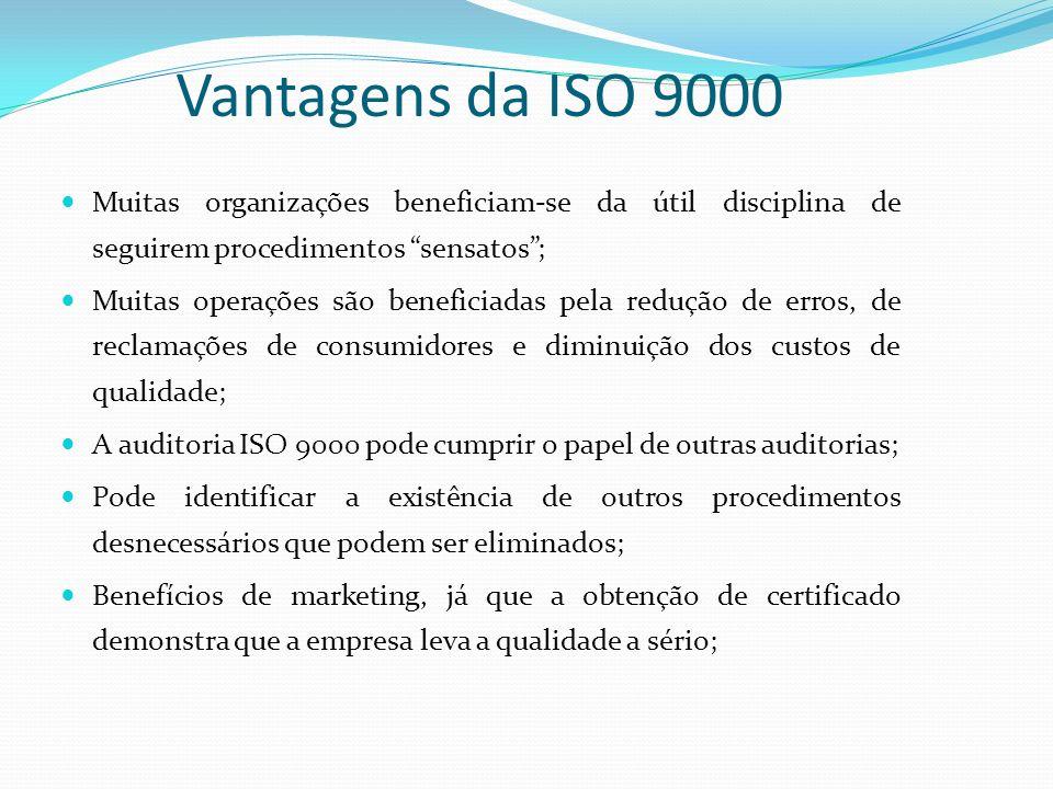 Vantagens da ISO 9000 Muitas organizações beneficiam-se da útil disciplina de seguirem procedimentos sensatos; Muitas operações são beneficiadas pela