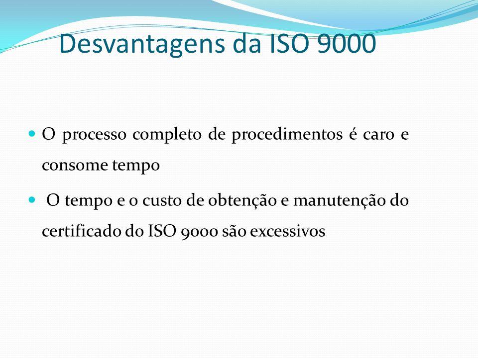 Desvantagens da ISO 9000 O processo completo de procedimentos é caro e consome tempo O tempo e o custo de obtenção e manutenção do certificado do ISO