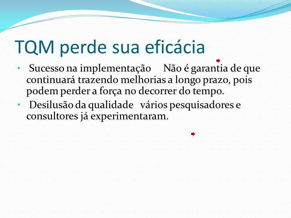 TQM perde sua eficácia Sucesso na implementação Não é garantia de que continuará trazendo melhorias a longo prazo, pois podem perder a força no decorr