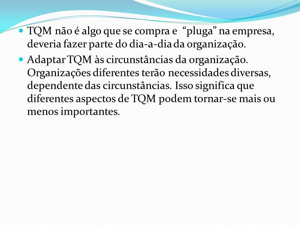 TQM não é algo que se compra e pluga na empresa, deveria fazer parte do dia-a-dia da organização. Adaptar TQM às circunstâncias da organização. Organi