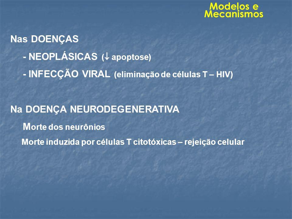 Nas DOENÇAS - NEOPLÁSICAS ( apoptose) - INFECÇÃO VIRAL (eliminação de células T – HIV) Na DOENÇA NEURODEGENERATIVA M orte dos neurônios Morte induzida