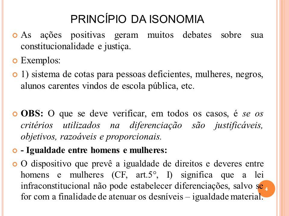 PRINCÍPIO DA ISONOMIA As ações positivas geram muitos debates sobre sua constitucionalidade e justiça. Exemplos: 1) sistema de cotas para pessoas defi