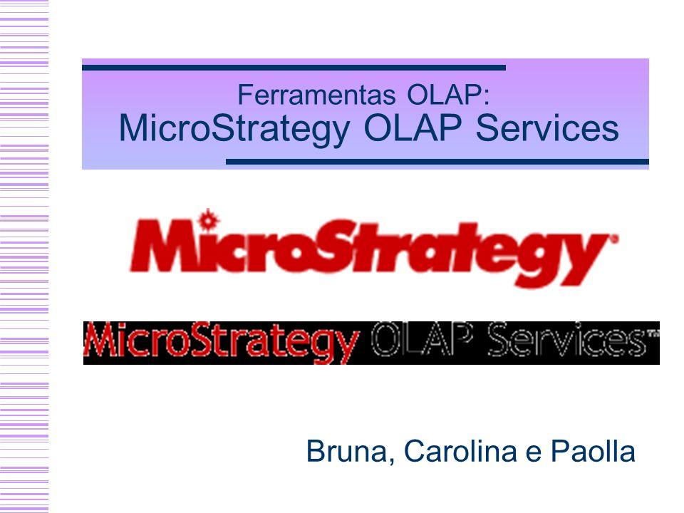 Ferramentas OLAP: MicroStrategy OLAP Services Bruna, Carolina e Paolla