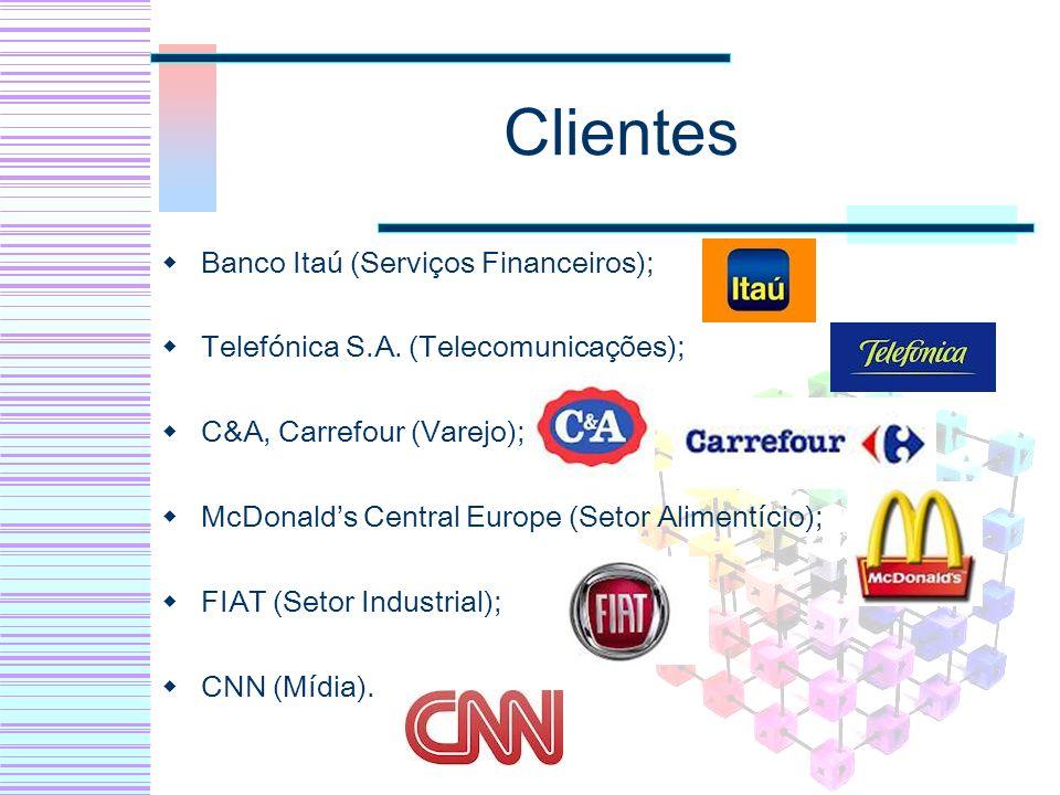 Clientes Banco Itaú (Serviços Financeiros); Telefónica S.A. (Telecomunicações); C&A, Carrefour (Varejo); McDonalds Central Europe (Setor Alimentício);