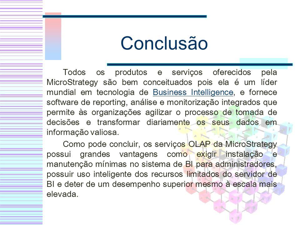 Conclusão Todos os produtos e serviços oferecidos pela MicroStrategy são bem conceituados pois ela é um líder mundial em tecnologia de Business Intell