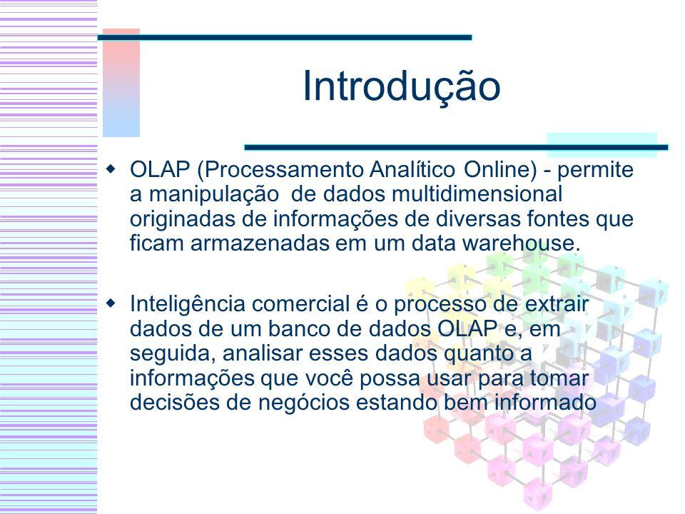 Introdução OLAP (Processamento Analítico Online) - permite a manipulação de dados multidimensional originadas de informações de diversas fontes que fi
