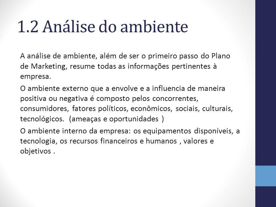1.2 Análise do ambiente A análise de ambiente, além de ser o primeiro passo do Plano de Marketing, resume todas as informações pertinentes à empresa.
