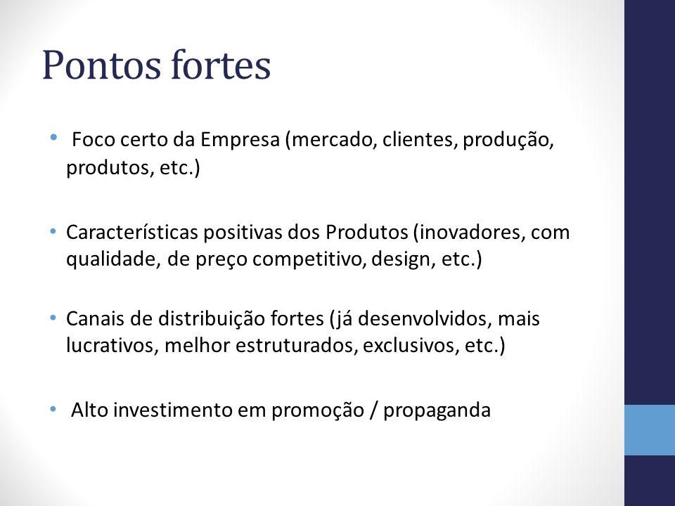 Pontos fortes Foco certo da Empresa (mercado, clientes, produção, produtos, etc.) Características positivas dos Produtos (inovadores, com qualidade, d