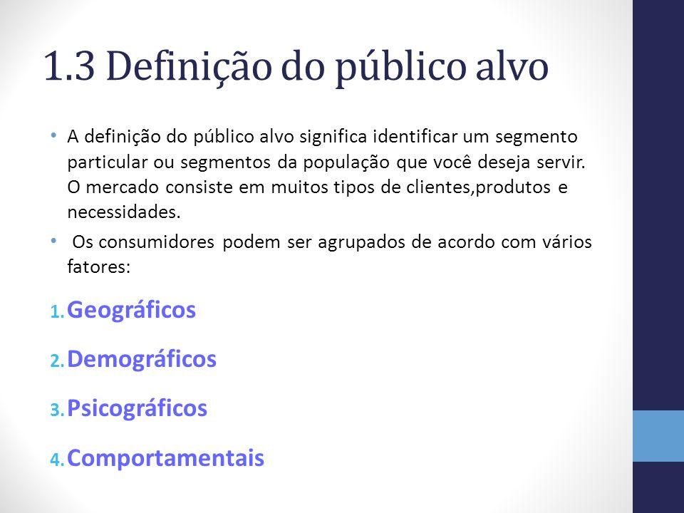 1.3 Definição do público alvo A definição do público alvo significa identificar um segmento particular ou segmentos da população que você deseja servi
