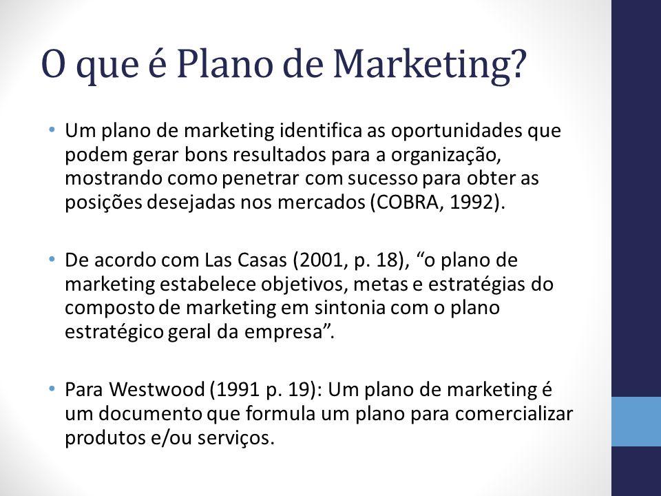O que é Plano de Marketing? Um plano de marketing identifica as oportunidades que podem gerar bons resultados para a organização, mostrando como penet