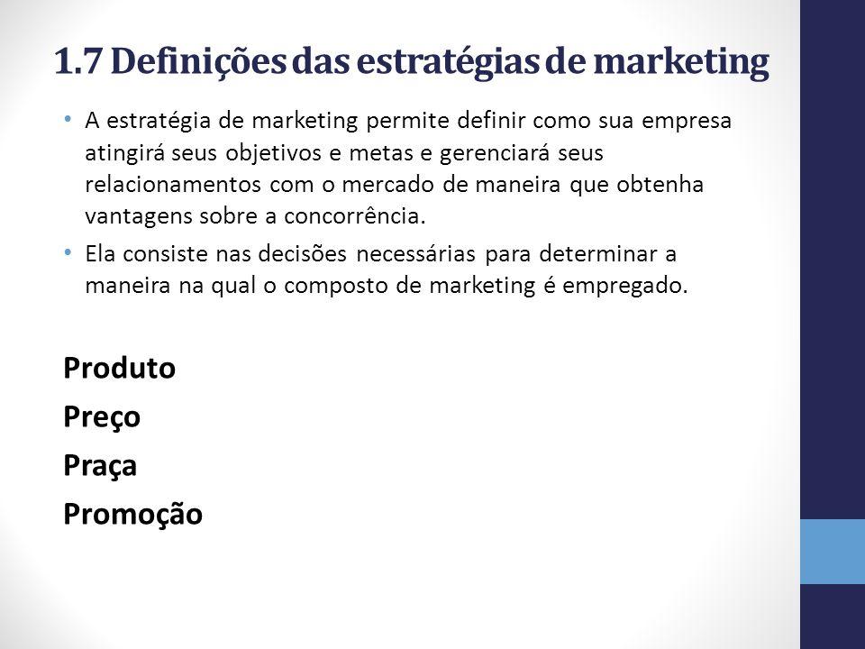 1.7 Definições das estratégias de marketing A estratégia de marketing permite definir como sua empresa atingirá seus objetivos e metas e gerenciará se