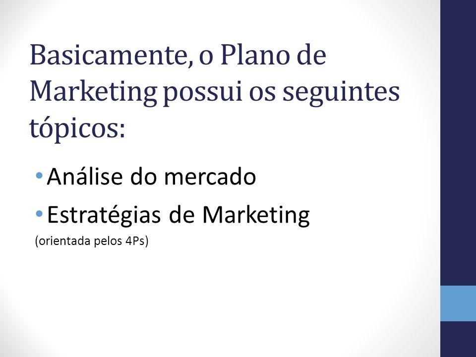 Basicamente, o Plano de Marketing possui os seguintes tópicos: Análise do mercado Estratégias de Marketing (orientada pelos 4Ps)