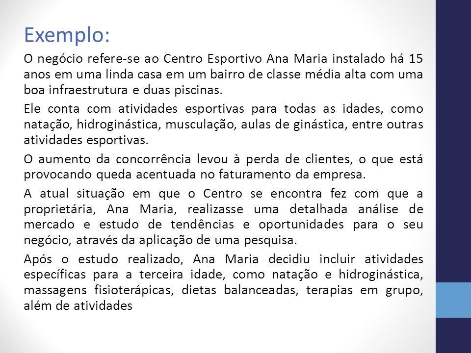 Exemplo: O negócio refere-se ao Centro Esportivo Ana Maria instalado há 15 anos em uma linda casa em um bairro de classe média alta com uma boa infrae