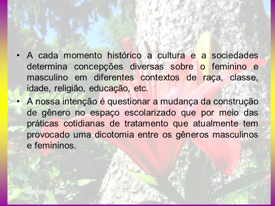 A cada momento histórico a cultura e a sociedades determina concepções diversas sobre o feminino e masculino em diferentes contextos de raça, classe,