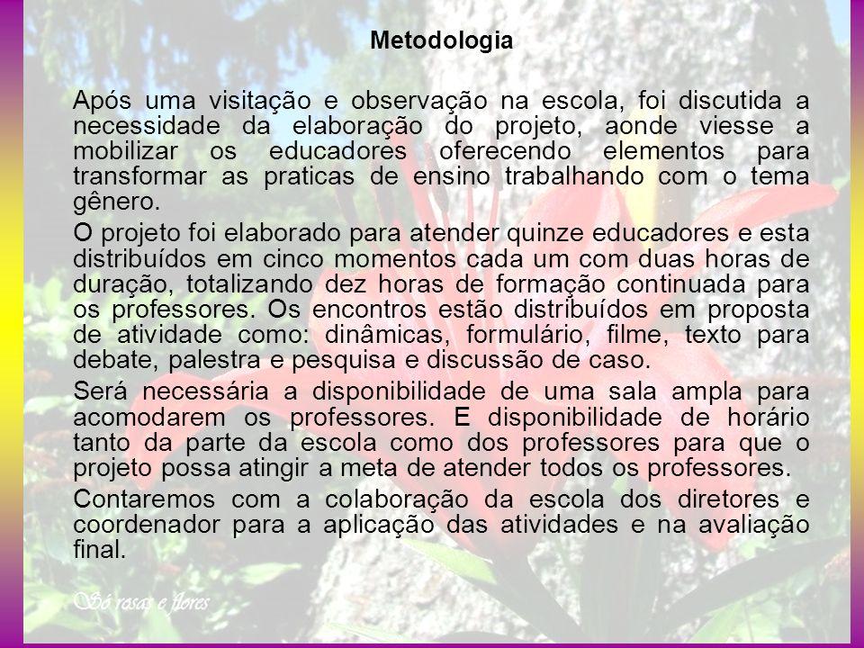 Metodologia Após uma visitação e observação na escola, foi discutida a necessidade da elaboração do projeto, aonde viesse a mobilizar os educadores of