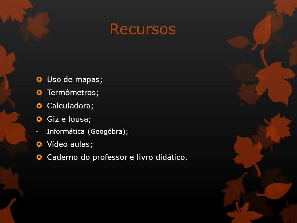 Recursos Uso de mapas; Termômetros; Calculadora; Giz e lousa; Informática (Geogébra); Vídeo aulas; Caderno do professor e livro didático.
