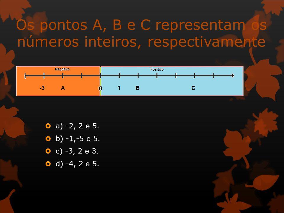 Os pontos A, B e C representam os números inteiros, respectivamente a) -2, 2 e 5. b) -1,-5 e 5. c) -3, 2 e 3. d) -4, 2 e 5.