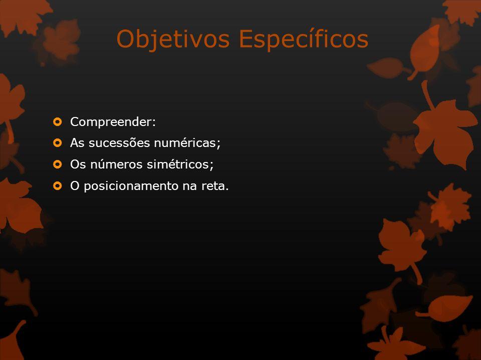 Objetivos Específicos Compreender: As sucessões numéricas; Os números simétricos; O posicionamento na reta.