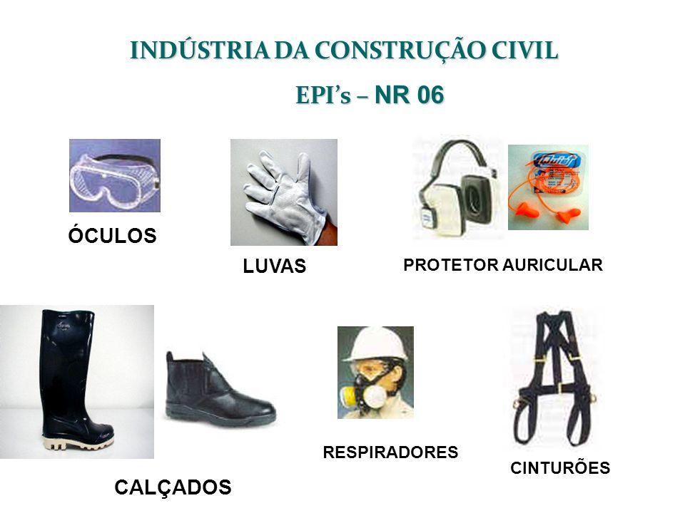 LUVAS INDÚSTRIA DA CONSTRUÇÃO CIVIL EPIs – NR 06 ÓCULOS CALÇADOS RESPIRADORES PROTETOR AURICULAR CINTURÕES