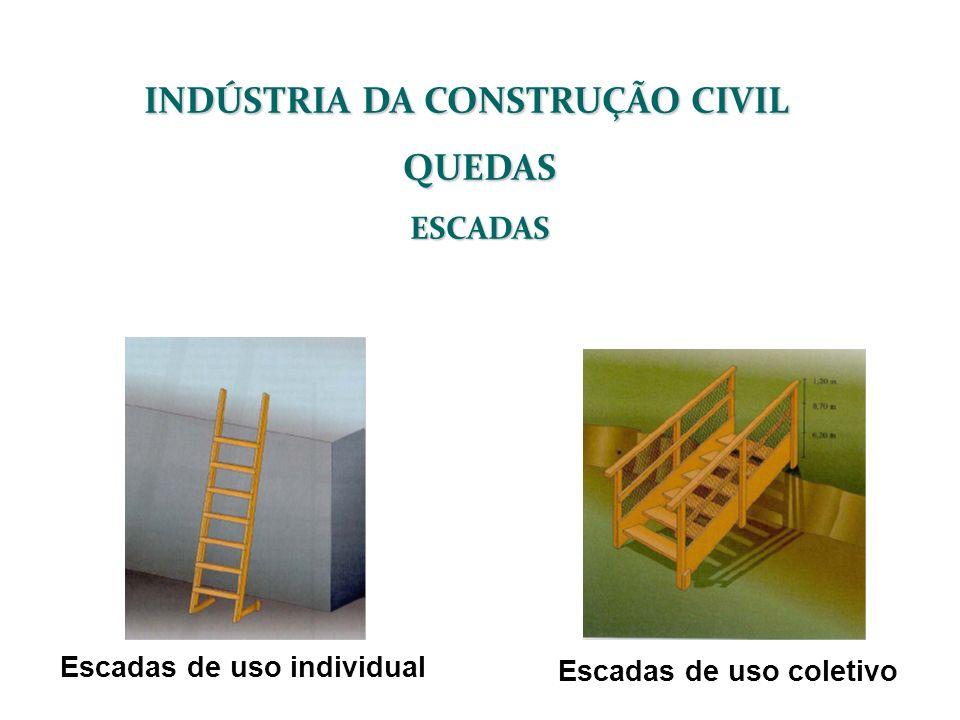 INDÚSTRIA DA CONSTRUÇÃO CIVIL QUEDASESCADAS Escadas de uso individual Escadas de uso coletivo