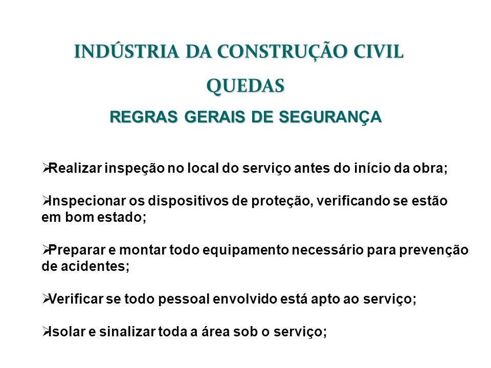 INDÚSTRIA DA CONSTRUÇÃO CIVIL QUEDAS REGRAS GERAIS DE SEGUR REGRAS GERAIS DE SEGURANÇA Realizar inspeção no local do serviço antes do início da obra;