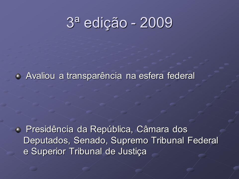 3ª edição - 2009 Avaliou a transparência na esfera federal Avaliou a transparência na esfera federal Presidência da República, Câmara dos Deputados, S