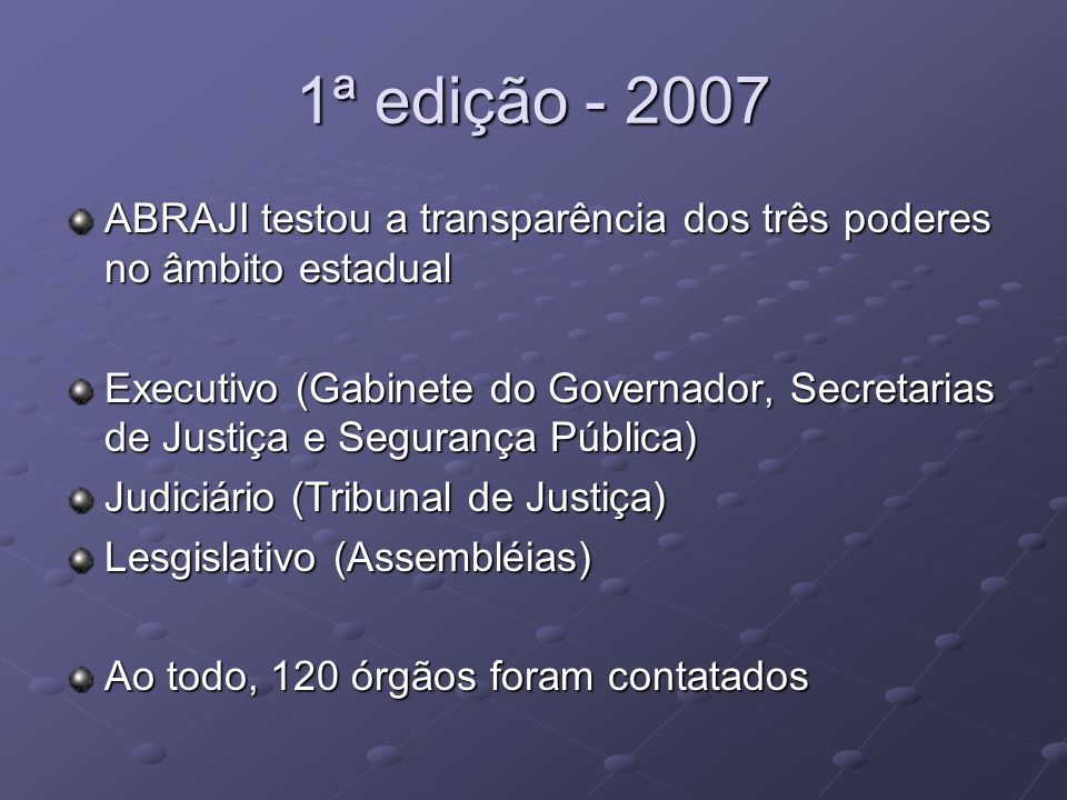 1ª edição - 2007 ABRAJI testou a transparência dos três poderes no âmbito estadual Executivo (Gabinete do Governador, Secretarias de Justiça e Seguran