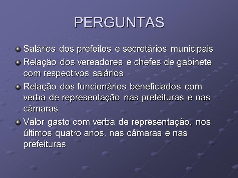 PERGUNTAS Salários dos prefeitos e secretários municipais Relação dos vereadores e chefes de gabinete com respectivos salários Relação dos funcionário