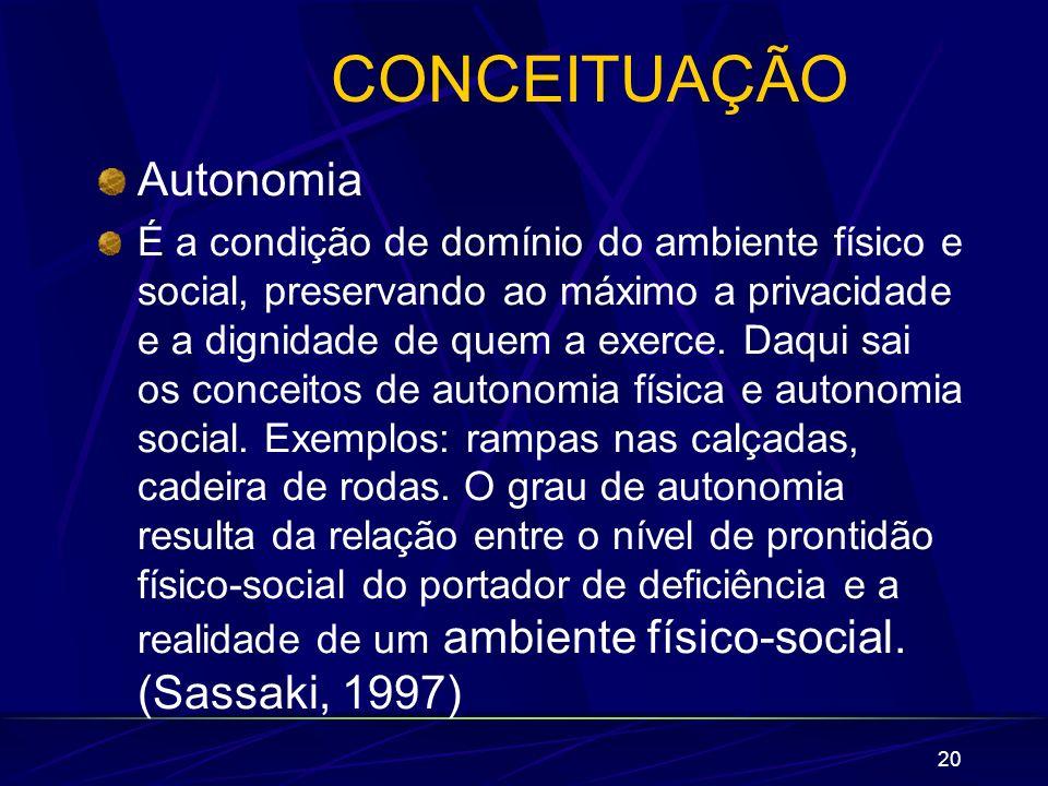 20 CONCEITUAÇÃO Autonomia É a condição de domínio do ambiente físico e social, preservando ao máximo a privacidade e a dignidade de quem a exerce. Daq