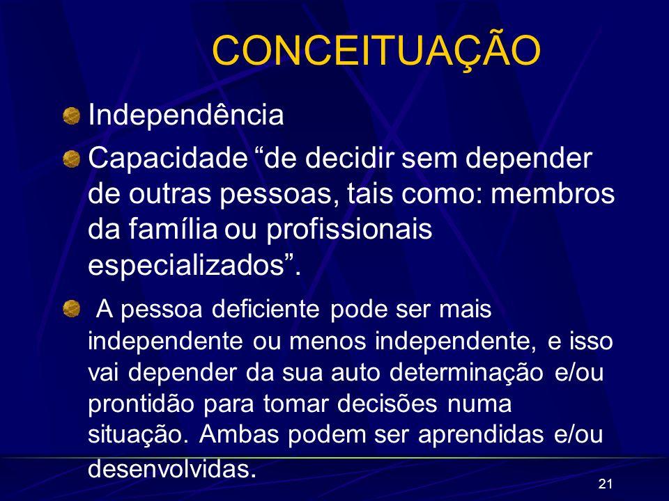 21 CONCEITUAÇÃO Independência Capacidade de decidir sem depender de outras pessoas, tais como: membros da família ou profissionais especializados. A p