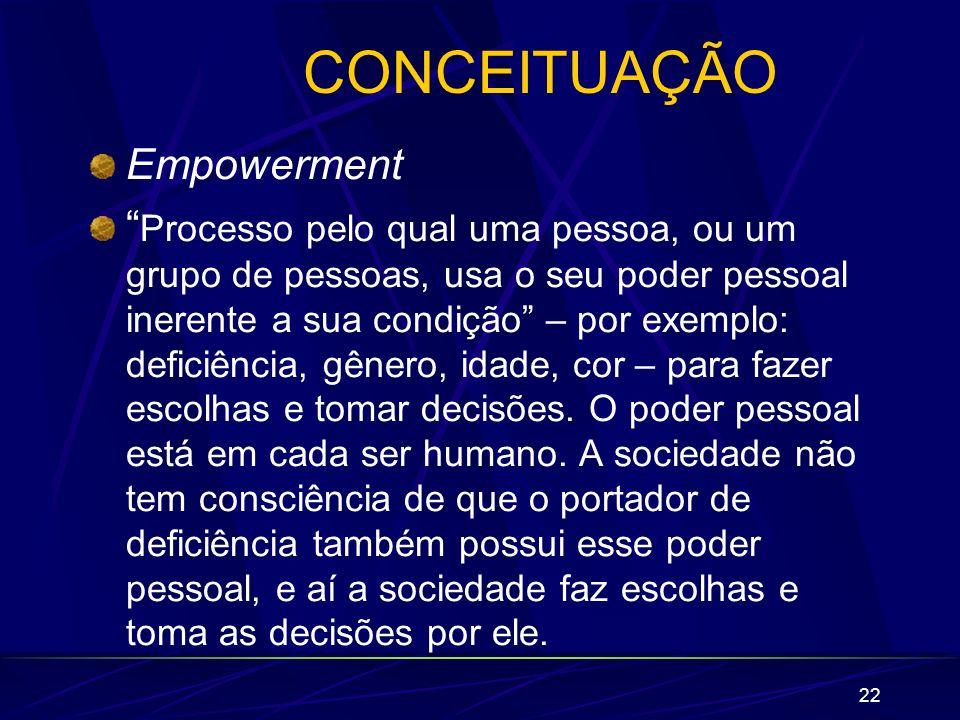 22 CONCEITUAÇÃO Empowerment Processo pelo qual uma pessoa, ou um grupo de pessoas, usa o seu poder pessoal inerente a sua condição – por exemplo: defi