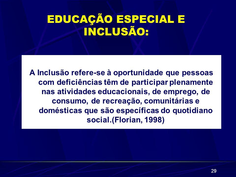 29 EDUCAÇÃO ESPECIAL E INCLUSÃO: A Inclusão refere-se à oportunidade que pessoas com deficiências têm de participar plenamente nas atividades educacio