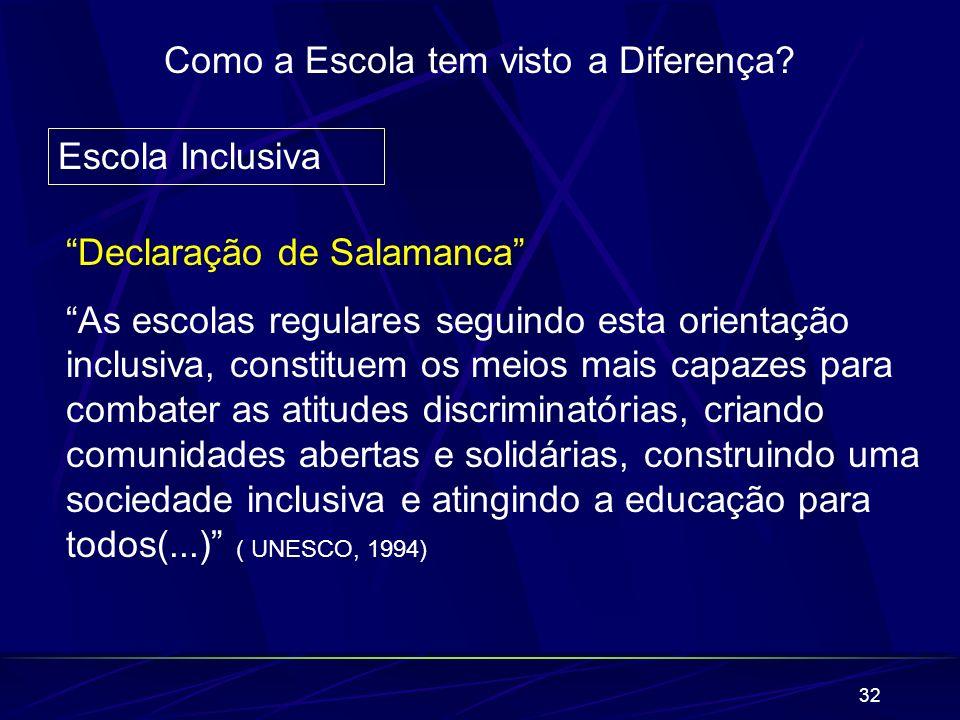 32 Como a Escola tem visto a Diferença? Escola Inclusiva Declaração de Salamanca As escolas regulares seguindo esta orientação inclusiva, constituem o