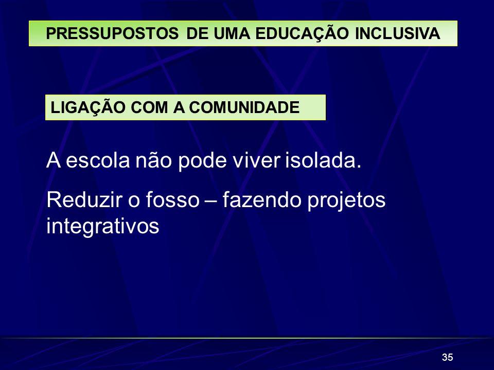 35 PRESSUPOSTOS DE UMA EDUCAÇÃO INCLUSIVA LIGAÇÃO COM A COMUNIDADE A escola não pode viver isolada. Reduzir o fosso – fazendo projetos integrativos