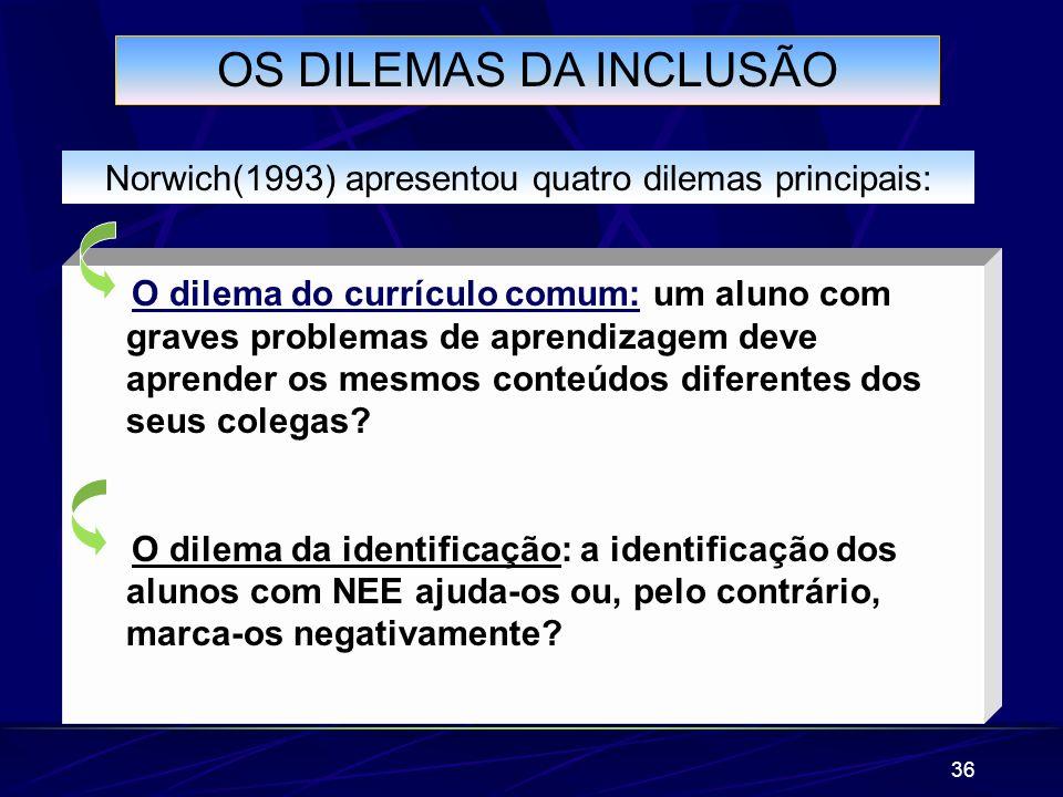 36 OS DILEMAS DA INCLUSÃO Norwich(1993) apresentou quatro dilemas principais: O dilema do currículo comum: um aluno com graves problemas de aprendizag