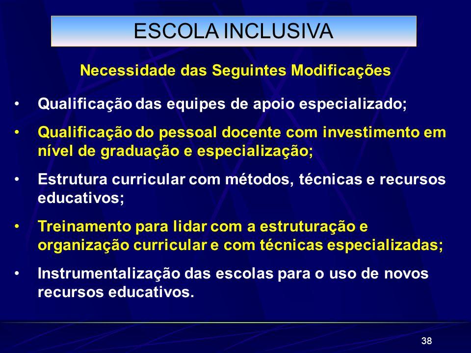 38 ESCOLA INCLUSIVA Necessidade das Seguintes Modificações Qualificação das equipes de apoio especializado; Qualificação do pessoal docente com invest