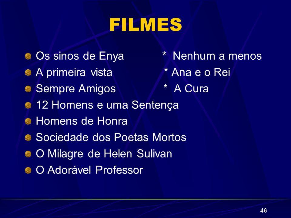 46 FILMES Os sinos de Enya * Nenhum a menos A primeira vista * Ana e o Rei Sempre Amigos * A Cura 12 Homens e uma Sentença Homens de Honra Sociedade d
