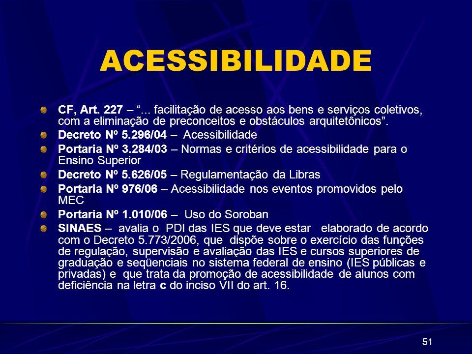 51 ACESSIBILIDADE CF, Art. 227 –... facilitação de acesso aos bens e serviços coletivos, com a eliminação de preconceitos e obstáculos arquitetônicos.