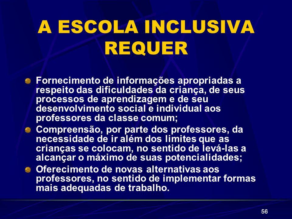 56 A ESCOLA INCLUSIVA REQUER Fornecimento de informações apropriadas a respeito das dificuldades da criança, de seus processos de aprendizagem e de se