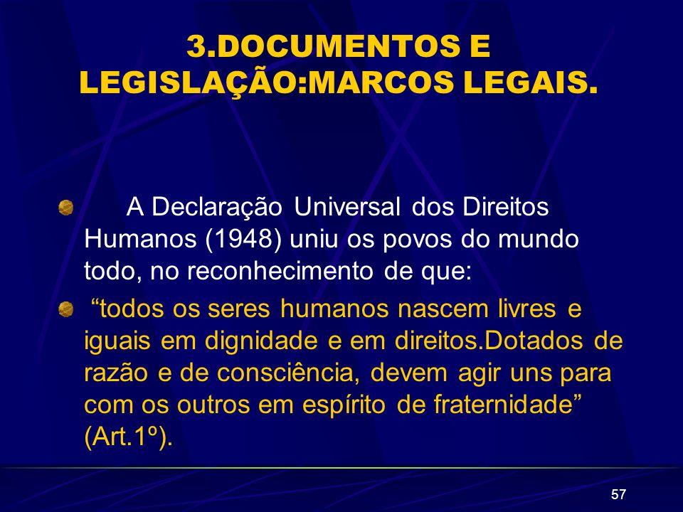 57 3.DOCUMENTOS E LEGISLAÇÃO:MARCOS LEGAIS. A Declaração Universal dos Direitos Humanos (1948) uniu os povos do mundo todo, no reconhecimento de que: