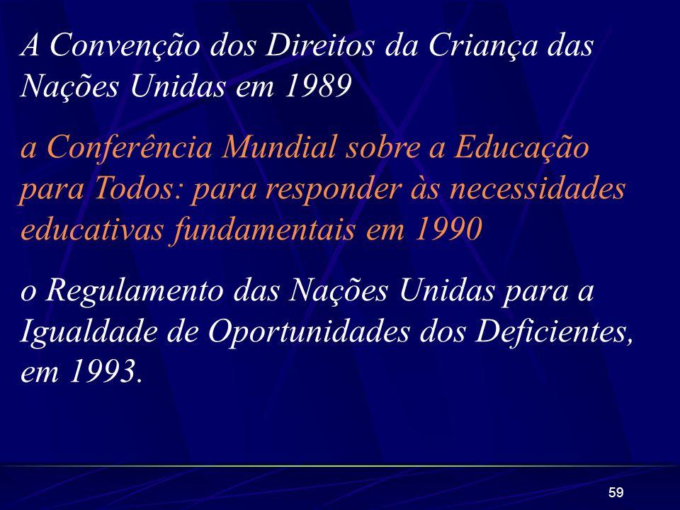 59 A Convenção dos Direitos da Criança das Nações Unidas em 1989 a Conferência Mundial sobre a Educação para Todos: para responder às necessidades edu