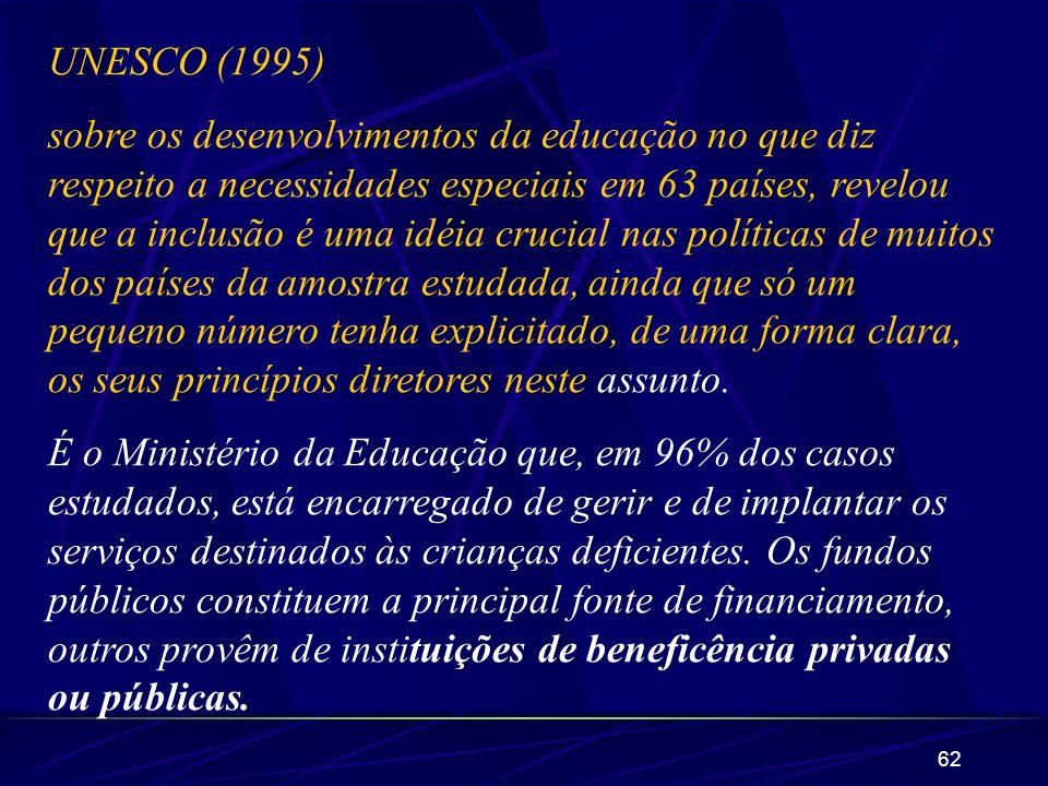 62 UNESCO (1995) sobre os desenvolvimentos da educação no que diz respeito a necessidades especiais em 63 países, revelou que a inclusão é uma idéia c