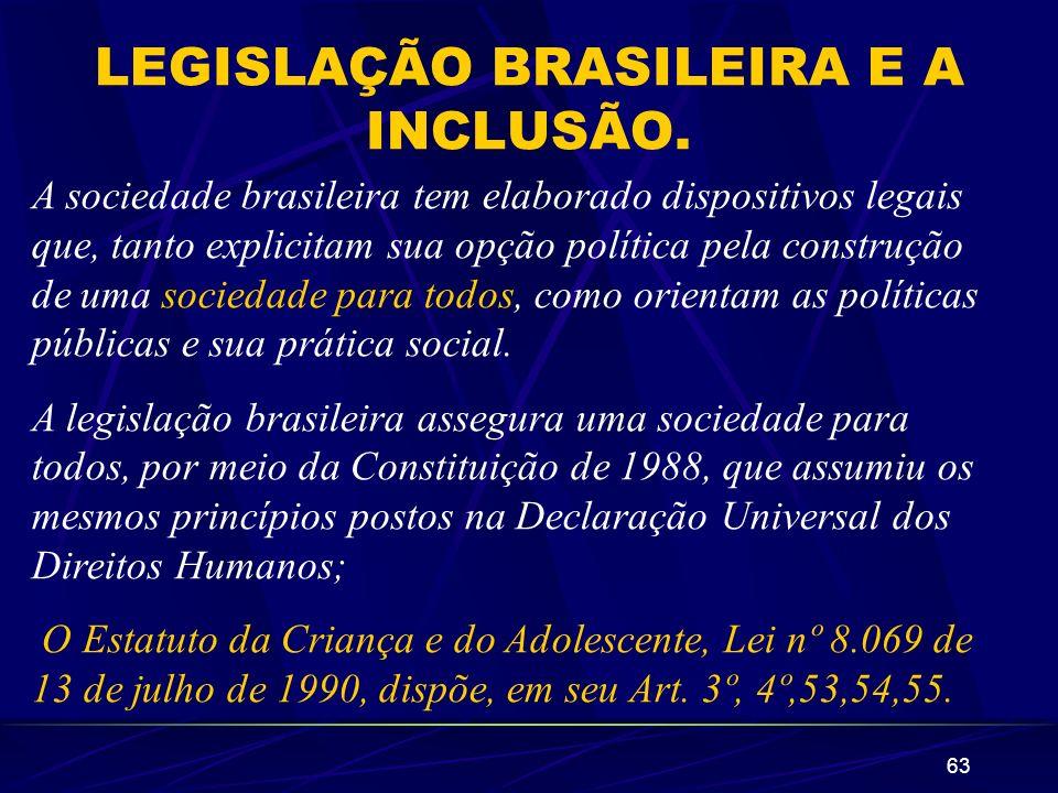 63 LEGISLAÇÃO BRASILEIRA E A INCLUSÃO. A sociedade brasileira tem elaborado dispositivos legais que, tanto explicitam sua opção política pela construç