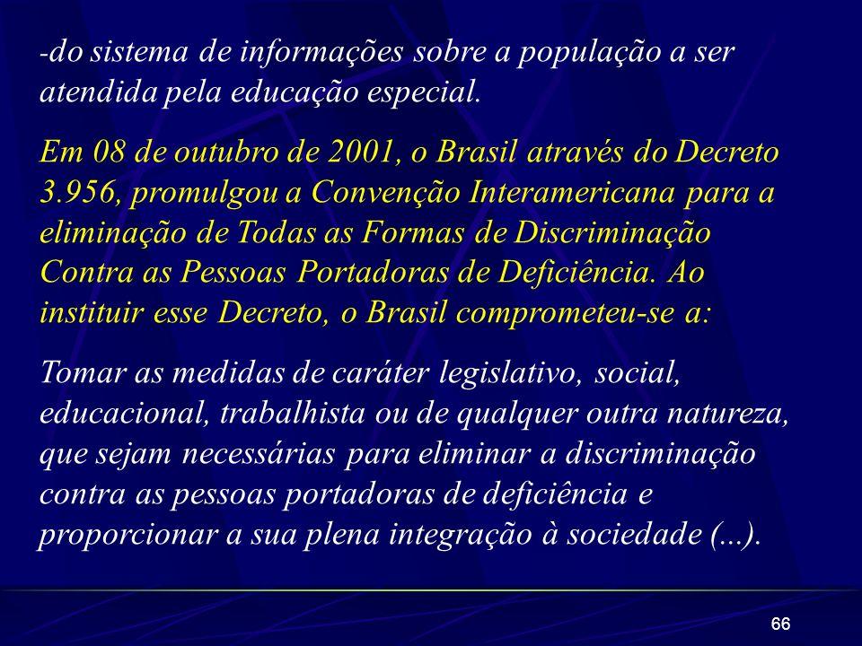 66 - do sistema de informações sobre a população a ser atendida pela educação especial. Em 08 de outubro de 2001, o Brasil através do Decreto 3.956, p