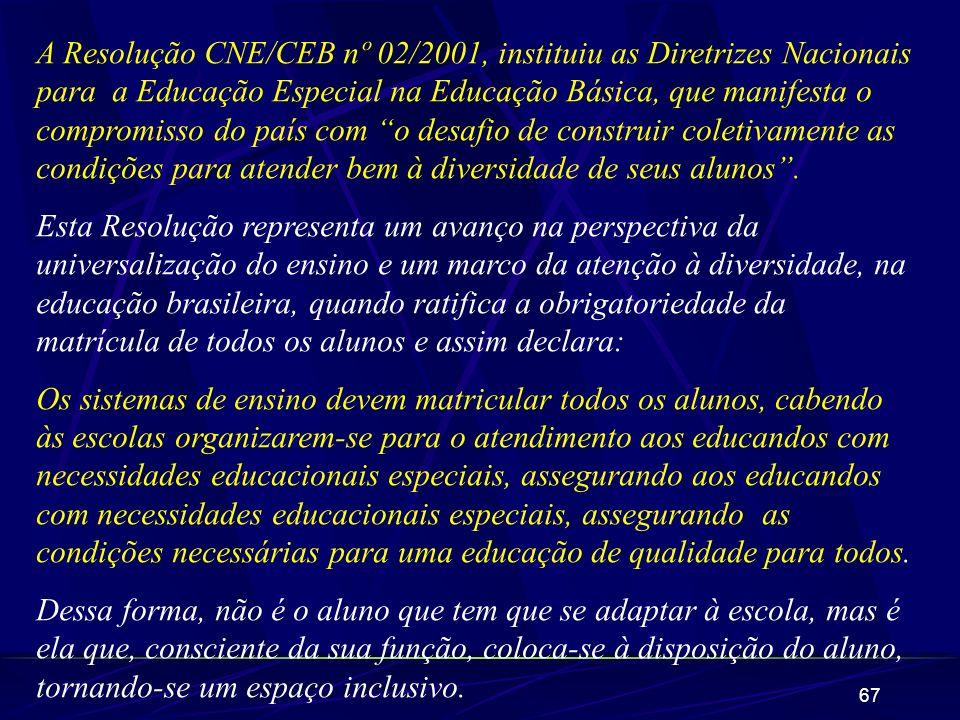67 A Resolução CNE/CEB nº 02/2001, instituiu as Diretrizes Nacionais para a Educação Especial na Educação Básica, que manifesta o compromisso do país