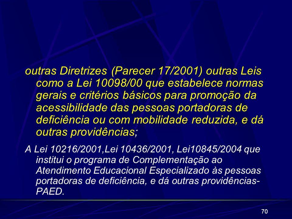 70 outras Diretrizes (Parecer 17/2001) outras Leis como a Lei 10098/00 que estabelece normas gerais e critérios básicos para promoção da acessibilidad