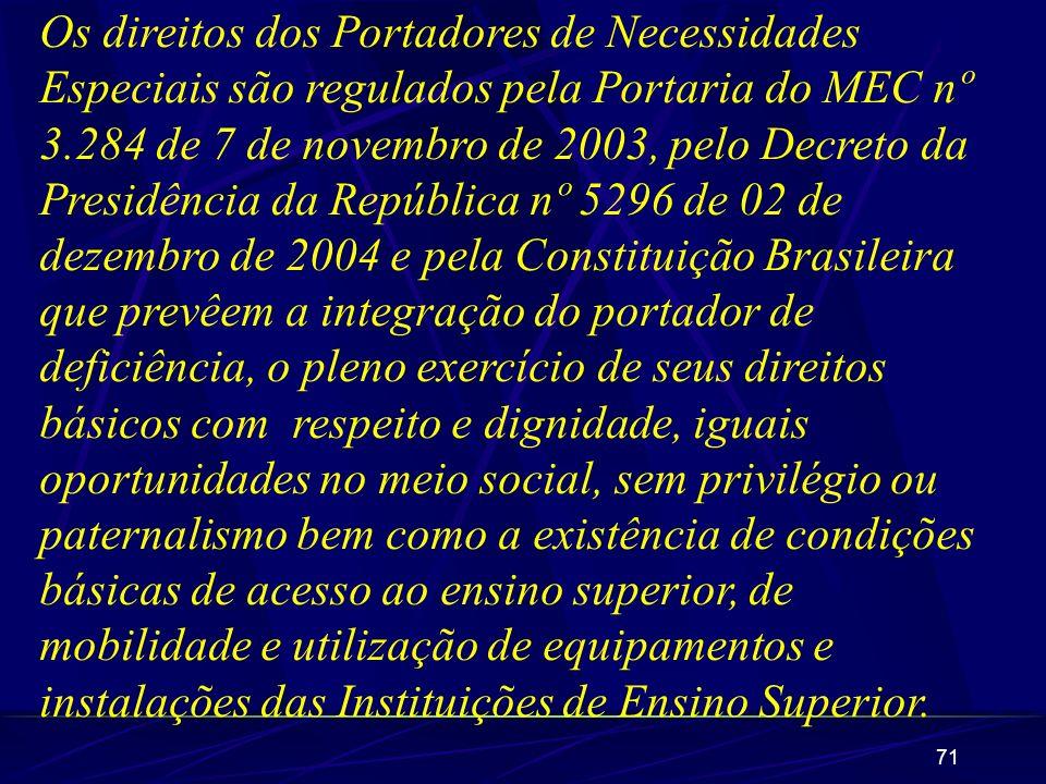 71 Os direitos dos Portadores de Necessidades Especiais são regulados pela Portaria do MEC nº 3.284 de 7 de novembro de 2003, pelo Decreto da Presidên