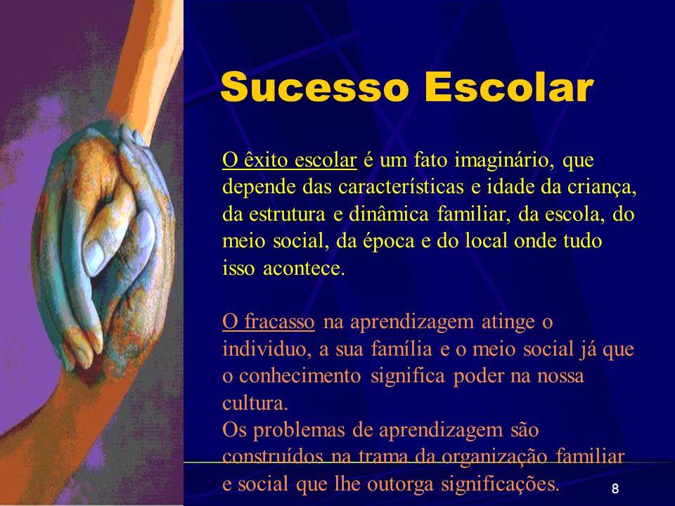 8 Sucesso Escolar O êxito escolar é um fato imaginário, que depende das características e idade da criança, da estrutura e dinâmica familiar, da escol